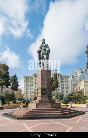 Nizami monument in Baku Azerbaijan - Stock Photo