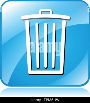 illustration of blue square icon for delete - Stock Photo