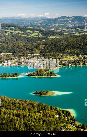 Austria, Carinthia, Islands in Lake Worthersee, view from Pyramidenkogel - Stock Photo