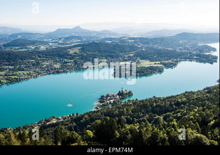 Austria, Carinthia, Maria Worth at Lake Worthersee, view from Pyramidenkogel - Stock Photo