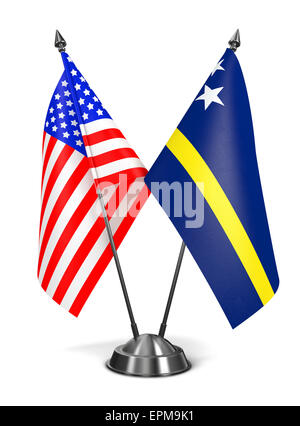 USA and Curacao - Miniature Flags Isolated on White Background. - Stock Photo