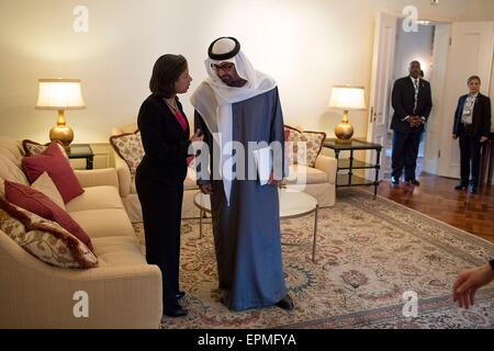U.S. National Security Advisor Susan E. Rice talks with Sheikh Mohammed bin Zayed Al Nahyan, Crown Prince of Abu - Stock Photo