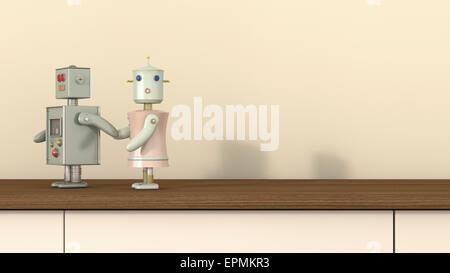 Male robot holding female robot's hand, 3D rendering - Stock Photo