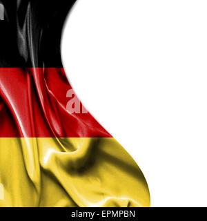 Germany waving silky flag isolated on white background - Stock Photo