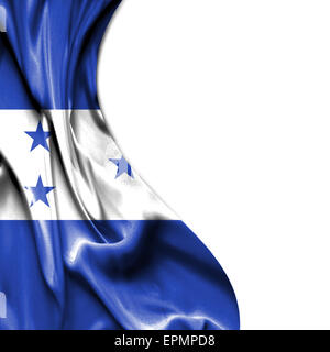 Honduras waving silky flag isolated on white background - Stock Photo