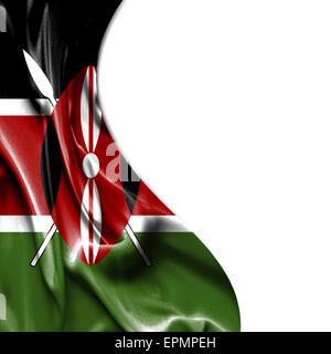 Kenya waving silky flag isolated on white background - Stock Photo