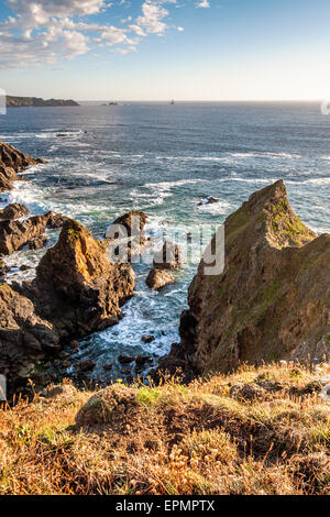 Pointe du Raz,  sea cliff landscape farthest western point of France, Brittany, France - Stock Photo