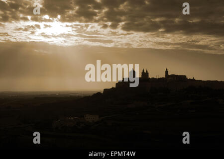 Mdina in Malta, a travel and tourism destination in Mediterranean Europe. Maltese landscape and history. Photo edited - Stock Photo