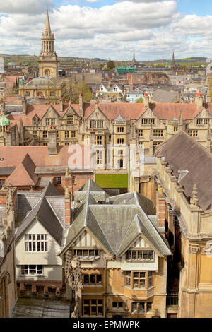 Aerial view on Lincoln College Library Tower and Brasenose College from the church tower of St Mary the Virgin, - Stock Photo