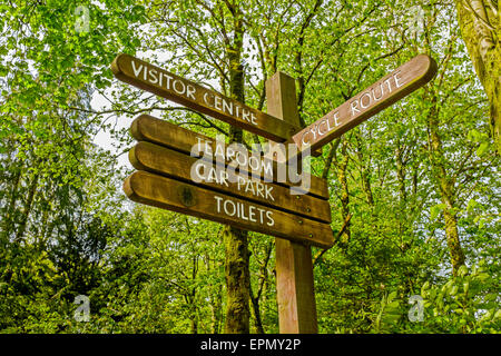 Public information signpost in a public park. - Stock Photo