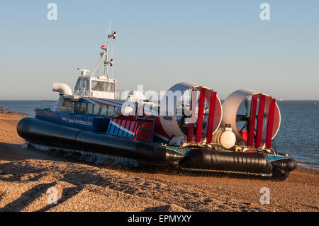 Freedom 90 departing Portsmouth & Southsea Hovercraft Terminal, UK on the 16th March 2014. - Stock Photo
