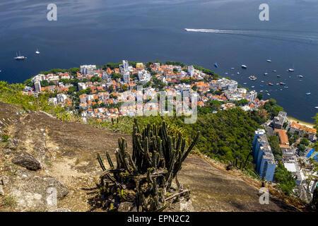 View to Rio from Pao de Acucar, Sugarloaf, Rio de Janiero, Brazil, Rio de Janeiro - Stock Photo