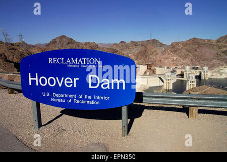 The Hoover Dam was built between 1931-36 on the Nevada-Arizona border to provide water to much of the southwestern - Stock Photo
