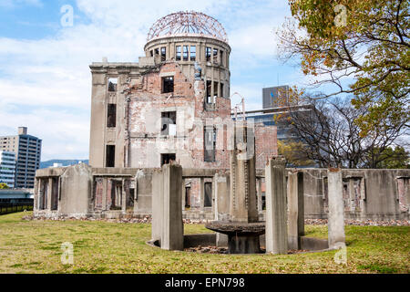 The Atomic bomb dome, Genbaku Dome, the ruin of the former Hiroshima Prefectural Industrial Promotion Hall on a - Stock Photo