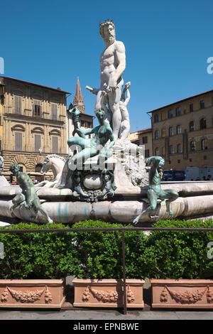 Neptune Fountain or Fontana del Nettuno on Piazza della Signoria, Florence, Tuscany, Italy - Stock Photo