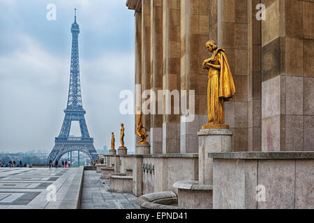 view from Trocadero on Eiffel tower, Paris - Stock Photo