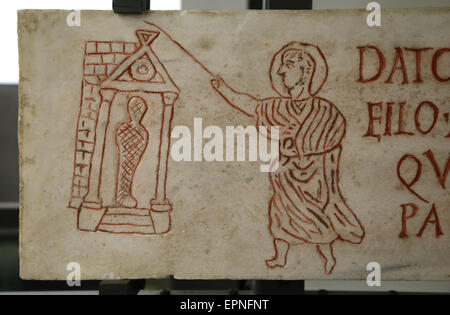 Early Christian. Gravestone of Datus. Figure represent the resurrection of Lazurus. From Catacombs. Rome. 3rd C. - Stock Photo