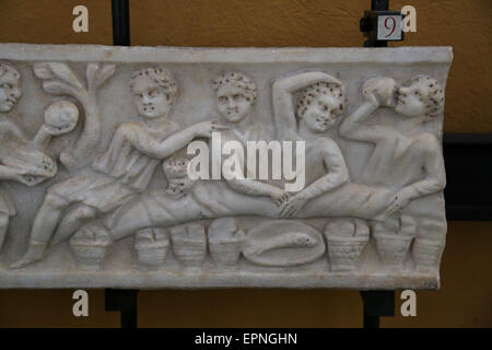 Early Christian. Roman banquet. 4th century. Relief. Vatican Museums. Vatican City State. - Stock Photo