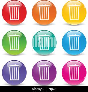 collection of icons of different colors for delete - Stock Photo