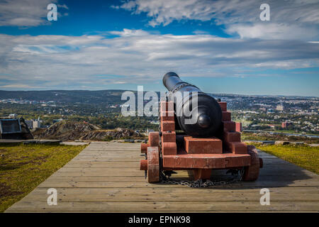 Canon on Signal Hill overlooking the city of St. John's, Newfoundland. - Stock Photo