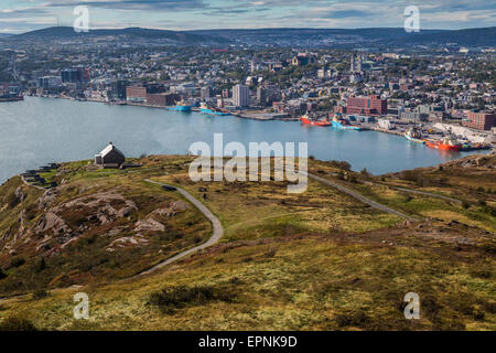 View of St. John's, Newfoundland, Canada from Signal Hill - Stock Photo