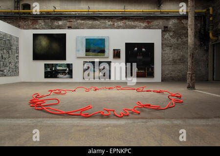 Exhibition (WERKSCHAU) at the Baumwollspinnerei (once one of the biggest spinning/ cotton mills in Europe) in Leipzig, Germany. Stock Photo