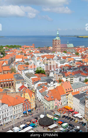 panoramic view from the tower of the Church of St Mary, Stralsund, Mecklenburg-West Pomerania, Germany - Stock Photo