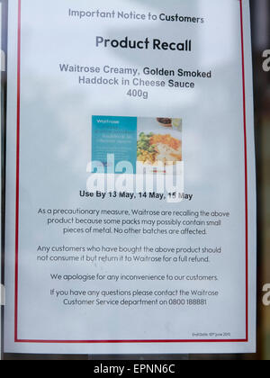 Wimbledon London,UK. 20th May 2015. A Branch of Waitrose supermarket has recalled it's Creamy Golden Smoked Haddock - Stock Photo