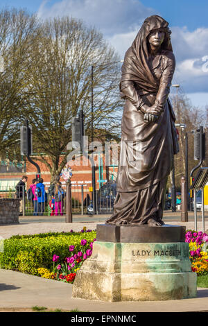 The Lady Macbeth statue, part of the Shakespeare Memorial by Lord Ronald Gower, situated in the Bancroft Gardens, - Stock Photo