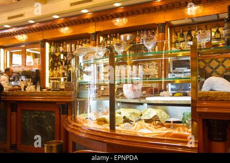 Interior of a bar/cafe in Milan Italy - Stock Photo