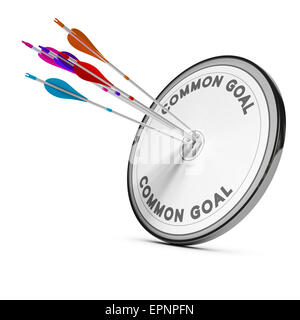 Many arrows hitting the same target, Concept image for business cooperation or common goal. - Stock Photo