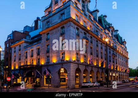 The Ritz Hotel At Night, London, England - Stock Photo