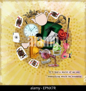 A collection of items relating to Alice in Wonderland with a quote from the book. - Stock Photo