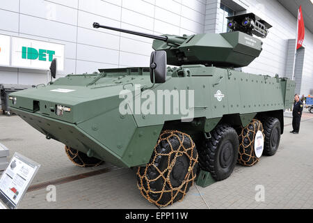 Brno, Czech Republic. 20th May, 2015. Vehicle KBV-PZ Pandur II 8x8 was presented at the international trade fair - Stock Photo