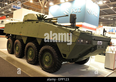 Brno, Czech Republic. 20th May, 2015. Scipio armoured combat vehicle was presented at the international trade fair - Stock Photo