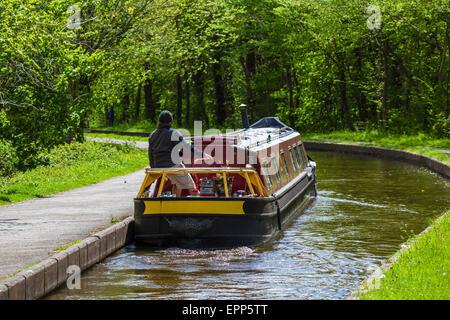 Narrowboat on the Llangollen Canal near the Pontcysyllte Aqueduct, Froncysllte, Llangollen, Denbighshire, Wales, - Stock Photo