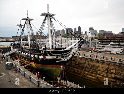 USS Constitution is moved into dry dock for the first time in 19-years in the Charlestown Navy Yard for a multi - Stock Photo