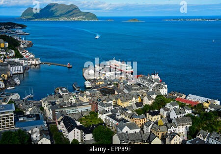 View from Aksla Hill at the port terminal for ships of the Hurtigruten, Ålesund, Alesund, Moere og Romsdal, Norway - Stock Photo
