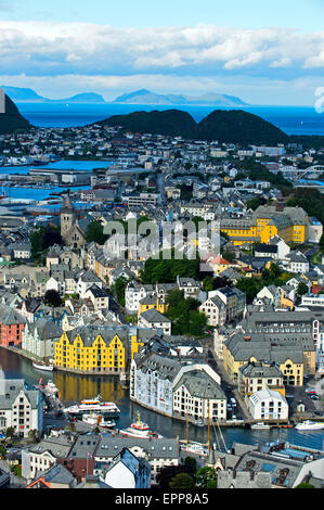 View over Alesund from Aksla Hill, Ålesund, Alesund, Moere og Romsdal, Norway - Stock Photo