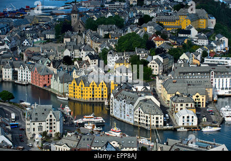View from Aksla Hill to the old town of Alesund, Ålesund, Alesund, Moere og Romsdal, Norway - Stock Photo