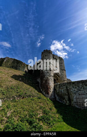 Carisbrooke Castle is a historic motte-and-bailey castle located in Carisbrooke, Isle of Wight, where Charles I - Stock Photo