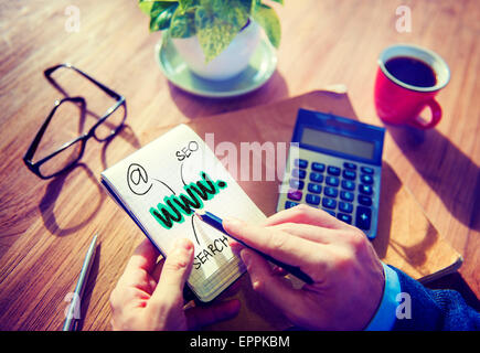Businessman Writing WWW Search Internet Concept - Stock Photo