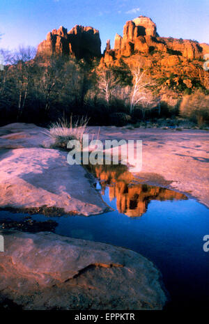 Cathedral rocks reflected in a water pond at Red Rock Park, Sedona Arizona - Stock Photo