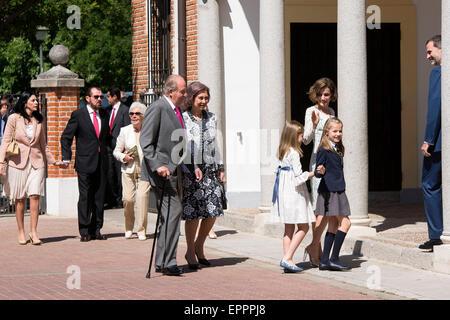 King Juan Carlos, Queen Sofia, Queen Letizia of Spain, Princess Sofia of Spain and Princess Leonor of Spain arrive - Stock Photo