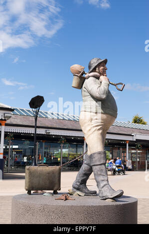 Jolly Fisherman statue at Skegness rail station,  Lincolnshire, England, UK - Stock Photo