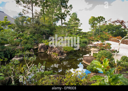 Florida , Del Ray Beach , Morikami Museum & Park , Roji-En , Japanese Gardens of Drops of Dew lake water detail - Stock Photo