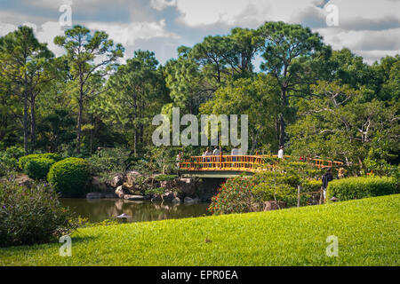 Florida Del Ray Beach Morikami Museum & Park Roji-En Japanese Gardens of Drops of Dew water lake trees & yellow - Stock Photo