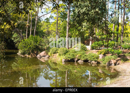 Florida , Del Ray Beach , Morikami Museum & Park , Roji-En Japanese Gardens of Drops of Dew lake detail rocks bushes - Stock Photo