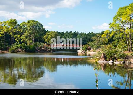 Florida , Del Ray Beach , Morikami Museum & Park , Roji-En , Japanese Gardens of Drops of Dew water lake trees & - Stock Photo