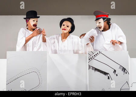 Florida Miami Art Basel international fair exhibition modern contemporary paintings pictures sculptures mime artists - Stock Photo